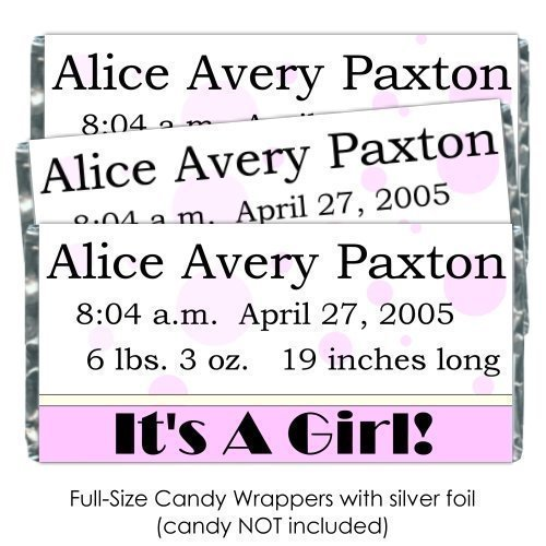 25 It's A Girl Baby Shower Candy Wrappers, Pink polka dot baby shower favors, Birth Announcement candy (Announcement Candy Wrappers)