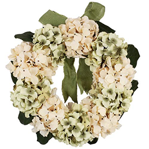Homcomoda Artificial Hydrangea Flower Wreath Front Door Wreath 20 Inch Fake Silk Flowers Garland for Home Wedding Party Decoration (Green and -