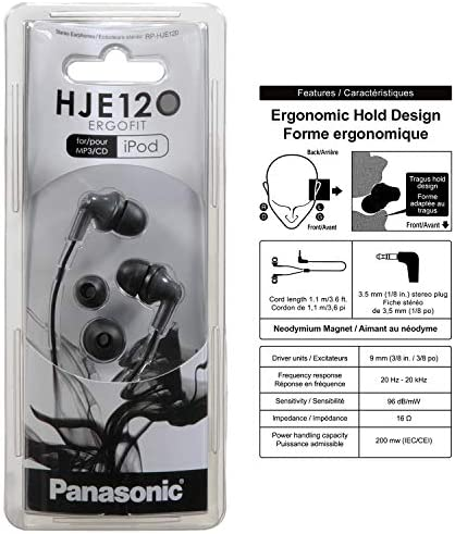 Panasonic ErgoFit In-Ear Earbud Headphones RP-HJE120K Dynamic Crystal-Clear Sound, Ergonomic Comfort-Fit, 9mm, Black