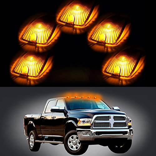 5 Pack Amber Top Cab Roof Running Light Marker Lens with Base Housing +5x 6-5730SMD HID White Led Light +Wiring pack For 1988-2000 GMC C/K (amber lens white light)