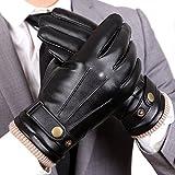 (US) WARMEN Mens Touchscreen Texting Winter PU Faux Leather Gloves Driving Long Fleece Lining Black - Wool/Cashmere Blend Cuff (8.5, Black (Touchscreen))