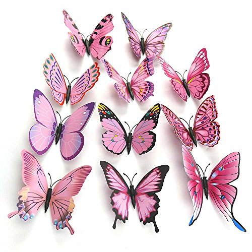 Hdecor 48pcs 3D Butterfly Stickers Making Stickers Wall Stickers Crafts Butterflies with Sponge Gum and Pins (Pink) (Butterfly Wall Decorations)