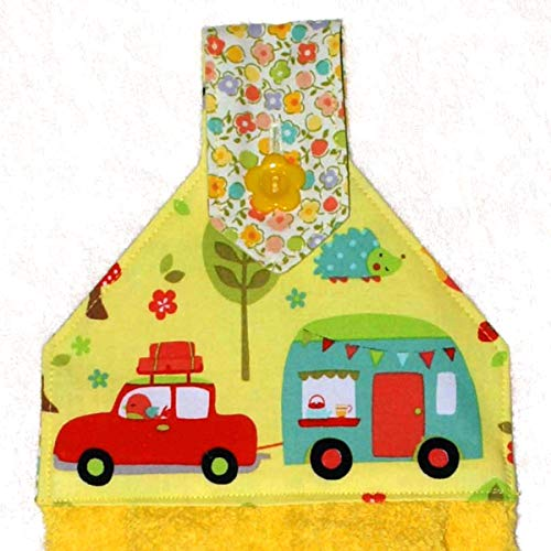 Hanging Hand Towel - Plush Yellow Towel - Retro RV Trailer - Hedgehog - Bird - RV Camping Decor