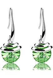 Mondaynoon Valentine's Day Gift Magic Love Bean Women's Swarovski Element Crystal French Wire Dangle Earrings