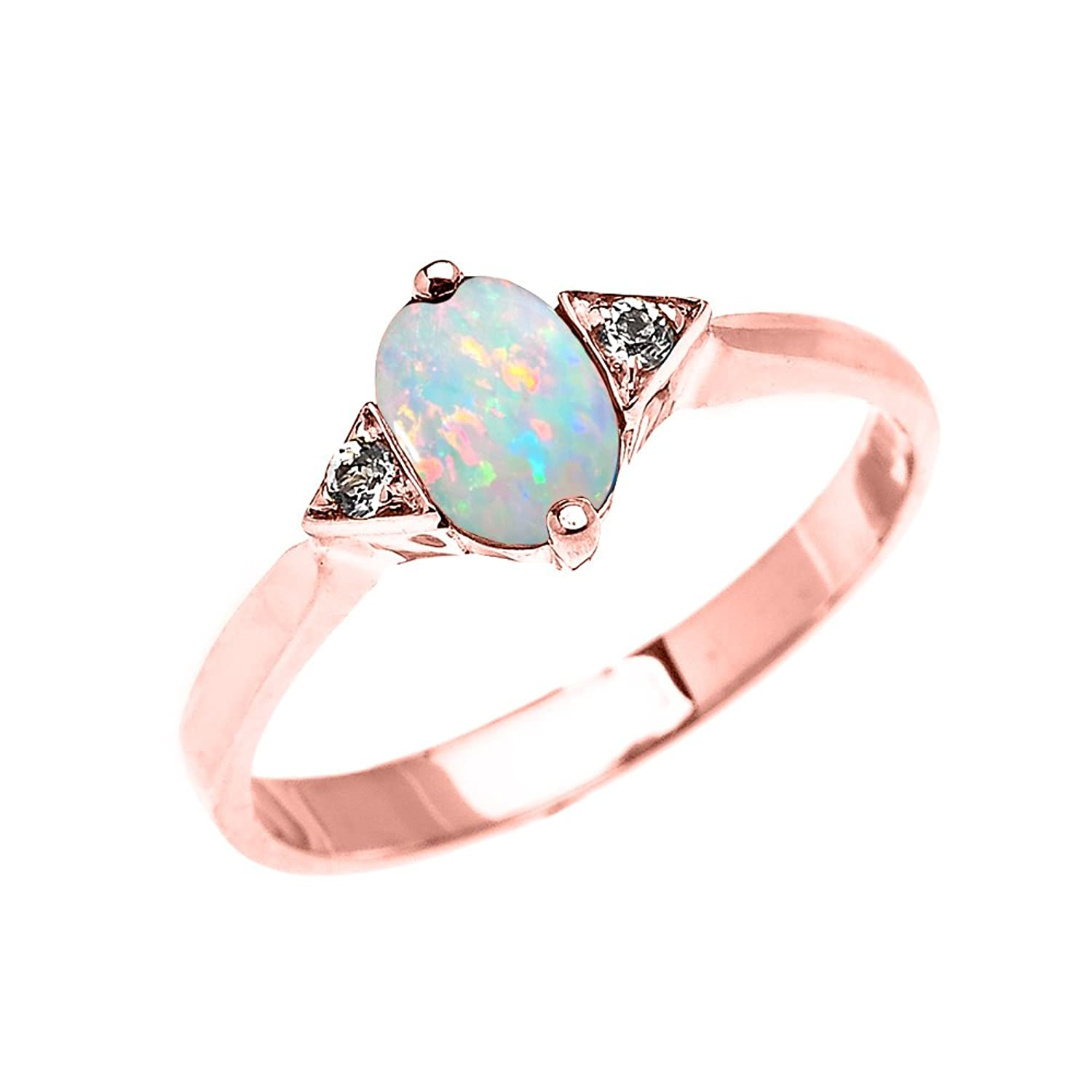 14k Rose Gold Solitaire White Topaz Proposal/Engagement Ring