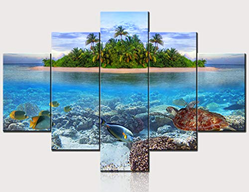 - Wall Art for Living Room Marine Life at Tropical Island of Maldives Pictures Seascape Paintings 5 Piece Canvas Artwork Modern Home Decor Wooden Framed Ready to Hang Posters and Prints(60''Wx40''H)
