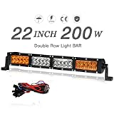 """led amber driving lights - 22"""" LED Light Bar Amber White Dual Color 200W 20000LM Spot Flood Combo Beam Automotive Off-road Driving Fog Lights with Wiring Harness, 2 Year warranty"""