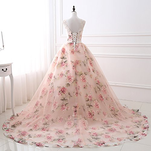 Rock Ballkleid Promkleid Tüll Frauen Blume Partykleid Rosa Appliques KekeHouse® Abendkleid kleiden SPq4x