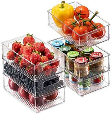 Set Of 6 Refrigerator Organizer Bins - Stackable Fridge Organizers with Cutout Handles for Freezer, Kitchen, Countertops, Cabinets - Clear Plastic Pantry Food Storage Rack