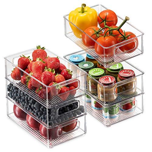 Set Of 6 Refrigerator Organizer Bins – Stackable Fridge Organizers with Cutout Handles for Freezer, Kitchen, Countertops…