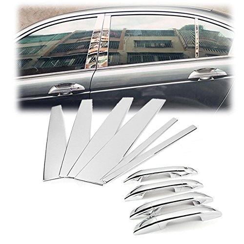 Triple Chrome Door Handle Cover + Pillar Post Trim Set Fit for 2008-2012 Honda Accord Sedan ()