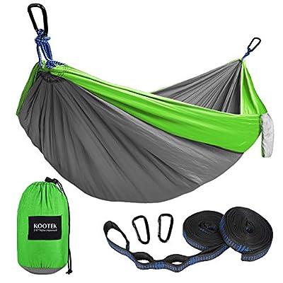 Kootek Camping Hammock Double & Single Portable Hammocks with 2 Tree Straps, Lightweight Nylon Parachute Hammocks for Backpacking, Travel, Beach, Backyard, Patio, Hiking