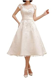 HUINI Cap Sleeves Short Lace Applique Wedding Dresses Bow Sashes Bridal Gowns