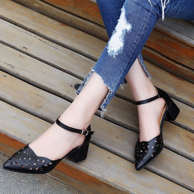 LvYuan Mujer Sandalias PU Verano Otoño Hebilla Tacón Plano Negro Beige Rosa 2'5 - 4'5 cms Black