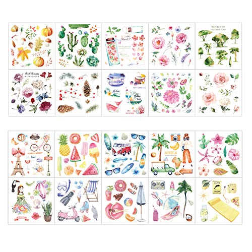 Cute Washi Paper Stationery Sticker Set Pumpkin Pine Nuts Branch Succulent Plants Cactus Bicycle Tower Fruit Popsicle Coconut Tree Glasses Swimming Equipment Vacation Stickers Scrapbooking ()