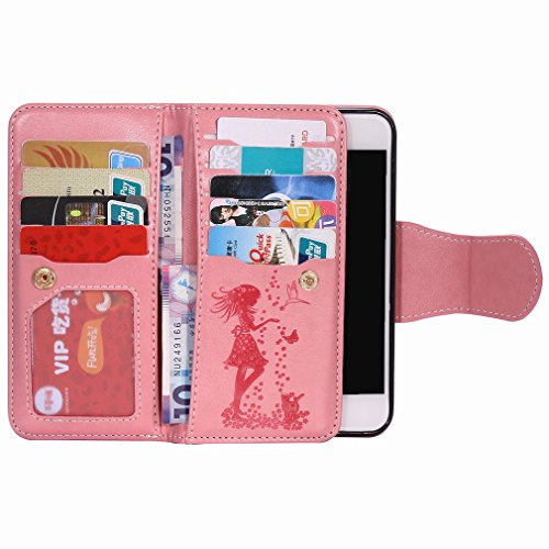 Yiizy Apple IPhone 7 Funda, Chica Repujado Diseño Solapa Flip Billetera Carcasa Tapa Estuches Premium PU Cuero Cover Cáscara Bumper Protector Slim Piel Shell Case Stand Ranura para Tarjetas Estilo (Ro