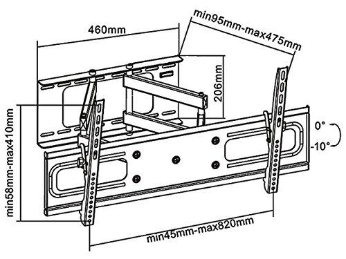 """Black Full-Motion Tilt/Swivel Wall Mount Bracket for Vizio M65-C1 65"""" inch 4K UHD HDTV TV/Television - Articulating/Tilting/Swiveling"""
