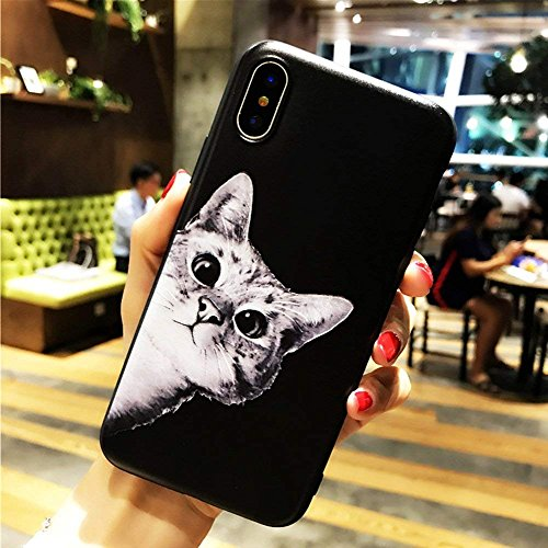 iPhone X Soft Case,LuoMing 3D Emboss Beautiful Flower Pattern Slim fit Shock-Absorbing Soft Rubber Clear TPU Skin Cover Case for iPhone X 5.8inch(2017) (Cat Meow)