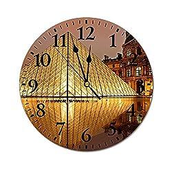Fashion PVC Wall Clock Louvre Pyramid Paris Tourism France Museum Arts Famous Landscape Silent Non-Ticking Round Wall Clock Custom Clock Decorative Clock 25x25cm(10x10Inch)