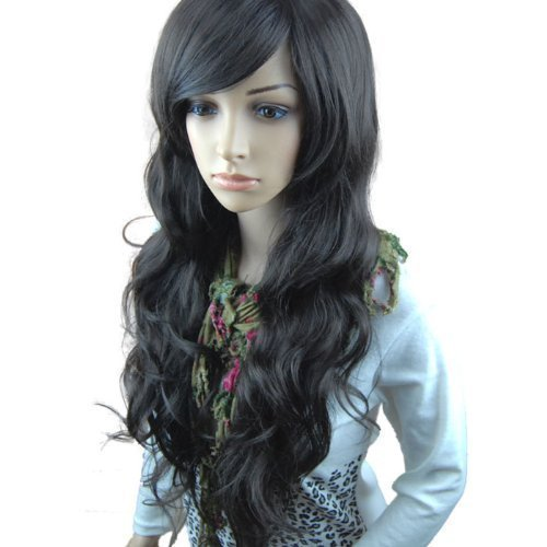 Price comparison product image MelodySusie Black Long Curly Wig - Fascinating Women Long Curly Wig with Free Wig Cap (Black)