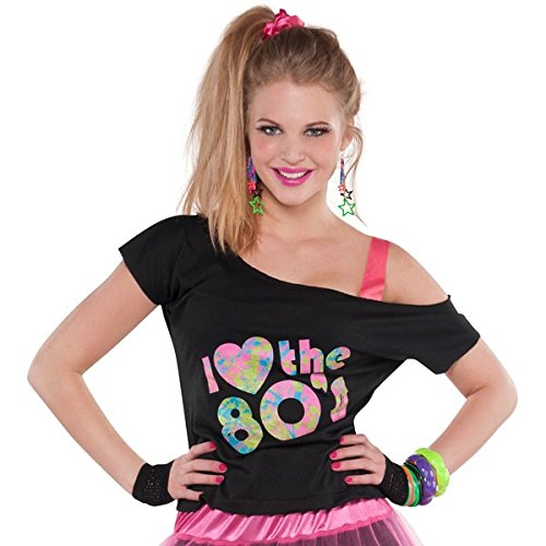 Kids Costumes From The 80s (I Love the 80s T-Shirt Costume - Standard - Dress Size 6-8)