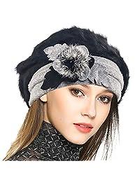 JESSE · RENA Women Wool French Beret Cloche Angola Beanie Skull Cap Winter Hats