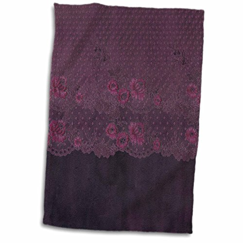 3dRose Uta Naumann Vintage Lace Collection - Victorian Trendy Pink Floral Lace on Purple Grunge Background - 15x22 Hand Towel (Grunge Lace)
