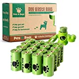 Poop Bags, Environment Friendly Pets N Bags Dog Waste Bags, Refill Rolls (16 Rolls / 240 Count, Unscented) Includes Dispenser