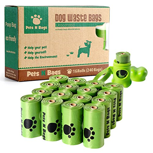 Poop Bags, Environment Friendly Pets N Bags Dog Waste Bags, Refill Rolls (16 Rolls / 240 Count, Unscented) Includes Dispenser (Pet Poop)
