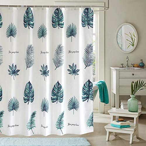 JRing Shower Curtain Polyester Fabric Mildew Resistant Machine Washable with 12 Hooks 72x72 Inch (Greenleaf)