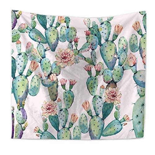 Ruibo Cactus Tapestry Wall Hanging Home Dorm Decoration Table Cloth/Runner - Watercolor Printed Bedroom Living Room Dorm Wall Hanging Tapestry Beach Throw(RB-C-2)(W:59