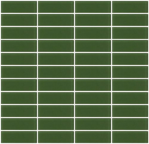 Susan Jablon Mosaics - 1x3 Inch Sage Green Frosted Glass Subway Tile Reset In Stacked Layout