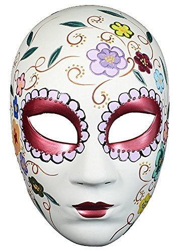 Hagora, Women's Day Of The Dead With Colorful Floral Designs Full Face Mask,Red, Pink, White One Size fits Most -