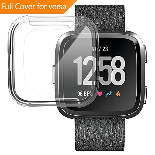 GerTong Soft Silicone TPU Full Cover Case For Fitbit Versa Ultra-thin Soft Plating TPU Protection For Fitbit Versa Protective Shell Frame for Fitbit Versa Smartwatch Clear by GerTong (Image #9)