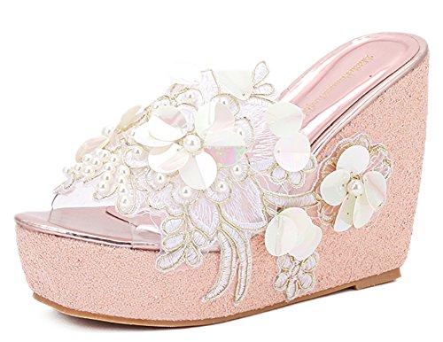 IDIFU Women's Comfy Flowers High Heels Wedge Platform Summer Slippers Sandals