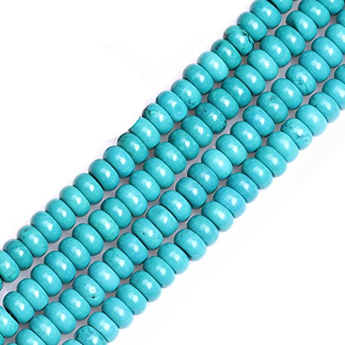 GEM-inside Turquoise Gemstone Loose Beads Dyed Energy Power Beads for Jewelry Making Roundelle 4X8mm 15