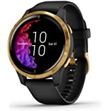 Garmin Venu, GPS Smartwatch with Bright Touchscreen Display, Features Music, Body Energy Monitoring, Animated Workouts, Pulse Ox Sensor and More, Gold with Black Band