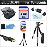 8GB Accessory Kit For Panasonic HDC-SD90K 3D Ready SD Camcorder Includes 8GB High Speed SD Memory Card + 57'' Full Size Tripod w/ Case + Deluxe Case + Mini HDMI Cable + LCD Screen Protectors + USB 2.0 SD Card Reader + MicroFiber Cleaning Cloth + More