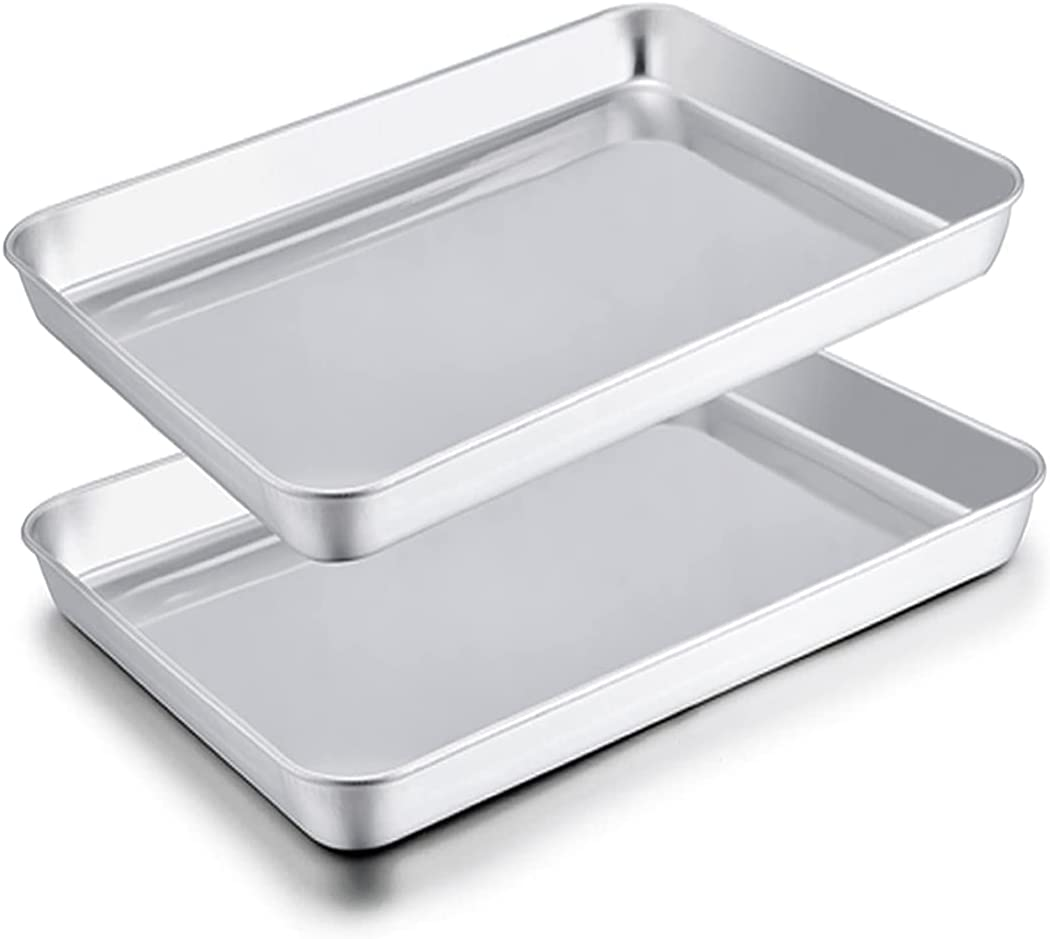 TeamFar Toaster Oven Pans, 9''x7''x1'' Stainless Steel Compact Toaster Oven Tray Ovenware, Healthy & Durable, Roll Edge & Mirror Finish, Easy Clean & Dishwasher Safe-2 PCS