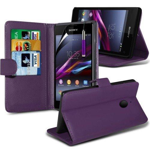 Sony Xperia Z2 Cubierta del caso con cuero (Púrpura) Plus de regalo libre, Protector de pantalla y un lápiz óptico, Solicitar ahora mejor caja del teléfono Valorado en Amazon! By FinestPhoneCases