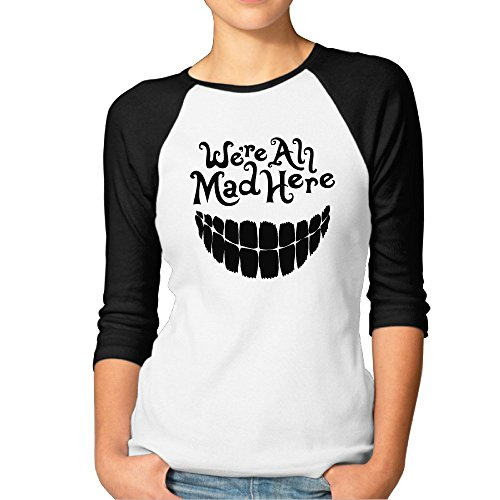 Price comparison product image Bekey Women's Evil Teeth We're All Mad Here Baseball Raglan 3 / 4 Sleeve Tshirts Black-Size M