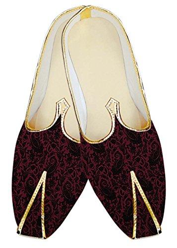 INMONARCH Terciopelo Patrón Paisley Hombres MJ18350 Boda Magenta Zapatos 74Pw7Rqr