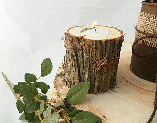 Christmas Tablescape Decor - Handmade Juniper Wood Candle Holders - Set of 18 Assorted Heights by Country Chapel Weddings