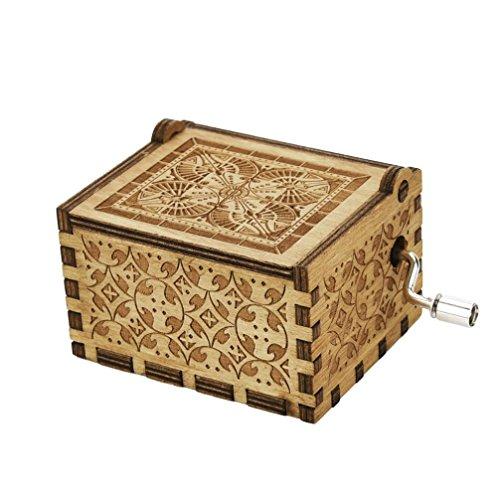Matoen Mini Music Box Engraved Wooden Music Box Interesting Toys Xmas Gifts (Khaki)