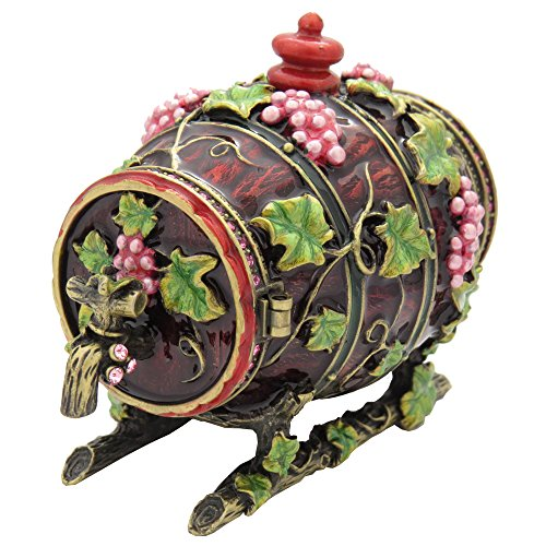 Collectible Crystalized Mahogany Red Enamel Floral Wine Barrel Antique Gift Trinket Jewelry Figurine - Box Enamel Floral