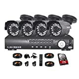 TMEZON 4CH 960H DVR Home Security System, P2P QR-Code Connection 800TVL Day Night CCTV Outdoor Cameras Surveillance System 1TB Hard Drive