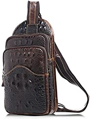 Mens Genuine Leather Chest Bag Pack Hiking Satchel Camping Sling Shoulder Bag Cross Body Bag
