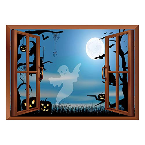 SCOCICI Removable Wall Sticker/Wall Mural/Halloween,Ghost Witch Owl Spider