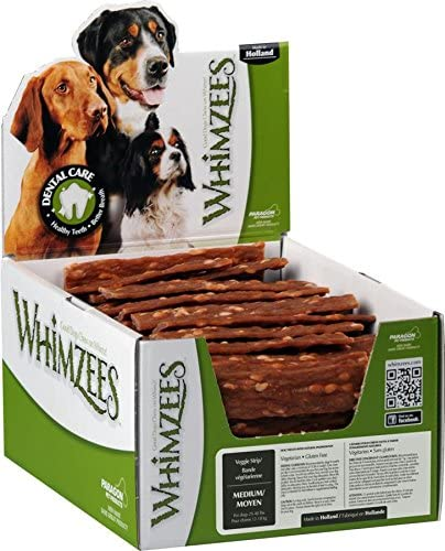 Paragon Pet Products Usa-Whimzees Veggie Strip Dental Treat- Brown Medium 100Pc
