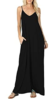 610b50ec00b Iandroiy Women s Summer Casual Plain Flowy Swimwear Cover Up Loose Beach  Cami Maxi Dresses with Pockets